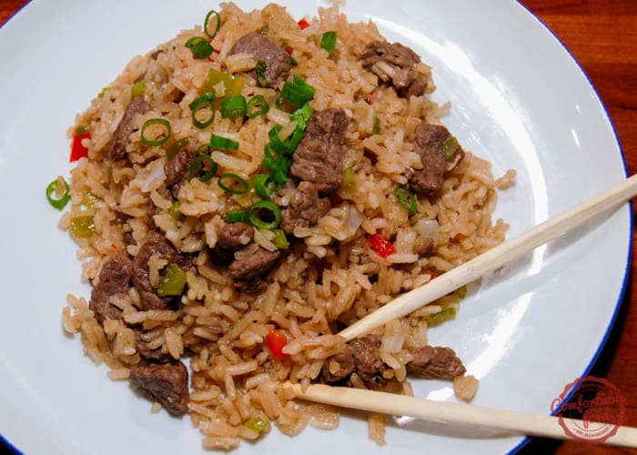 Super easy and better than takeout chinese beef and rice.