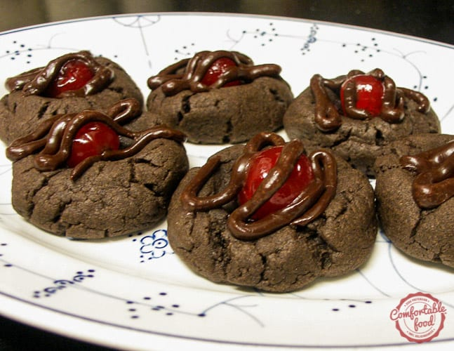 Chocolate covered cherries as cookies.