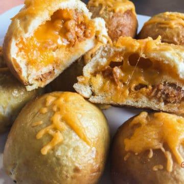 Sausage and cheddar stuffed pretzel balls