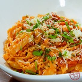 Rich and creamy tomato basil pasta recipe.
