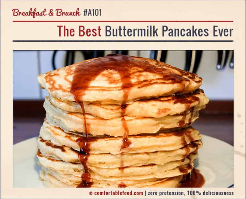 The lightest, fluffiest buttermilk pancakes ever.