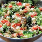 vegetable chicken bulgur salad with lemon garlic vinaigrette