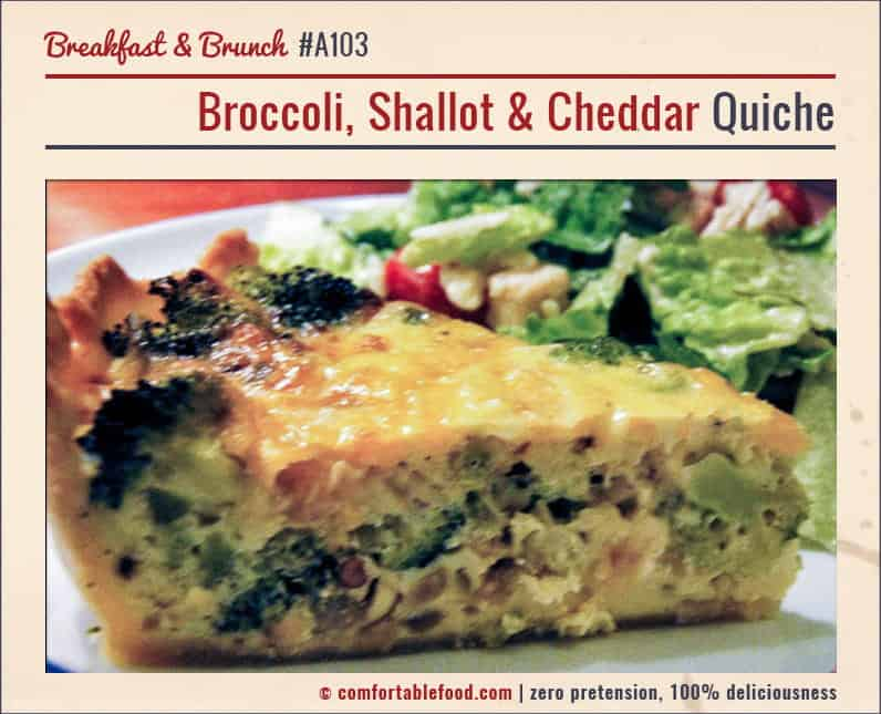 A very flavorful Quiche chock full of broccoli and cheddar.