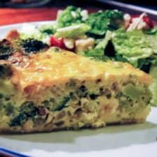 A broccoli and shallot quiche recipe.