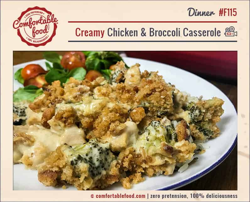 Rich and creamy chicken and broccoli casserole recipe.