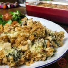 A delicious creamy chicken and broccoli casserole.
