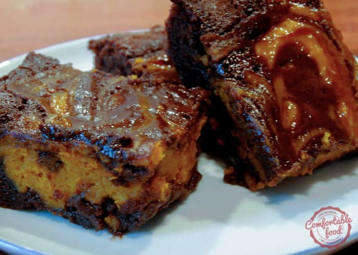 chocolate brownies are enhanced by a creamy pumpkin cream cheese swirl ...
