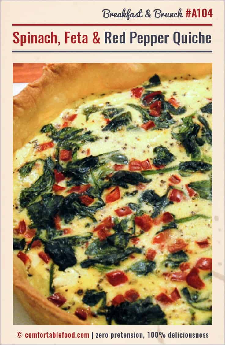 A super flavorful Quiche with tons of feta, red pepper and spinach.