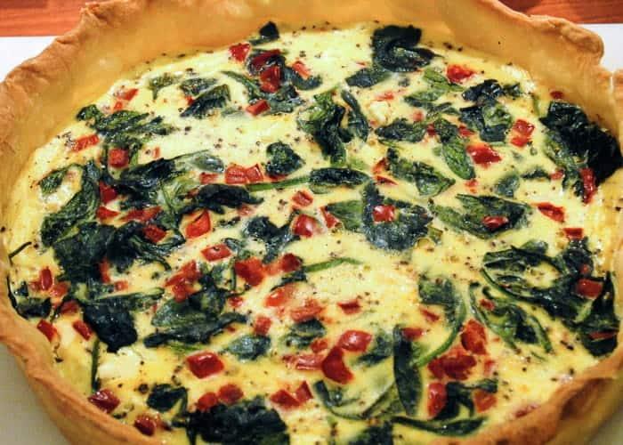 A quiche recipe with spinach and feta