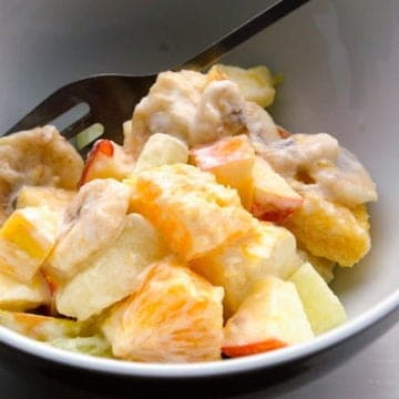 Zesty fruit salad with sour cream dressing