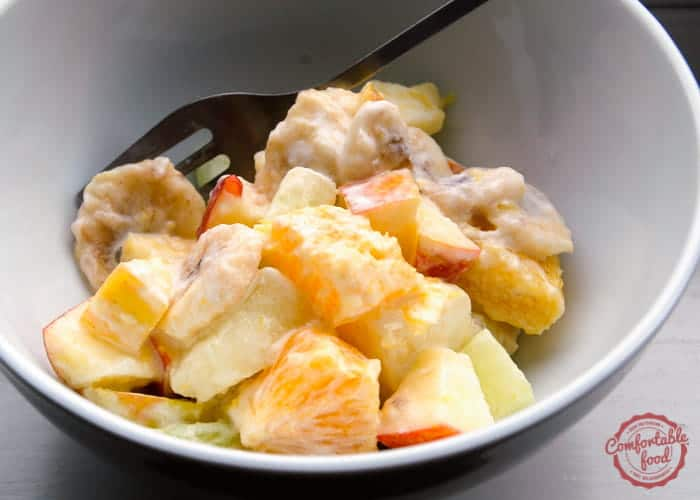 A zesty fruit salad with sour cream dressing.
