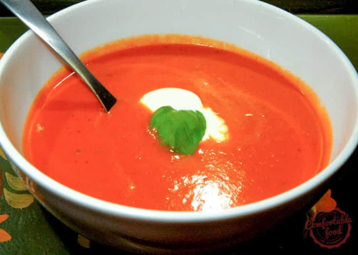 comfortable food - roasted tomato soup with garlic and basil