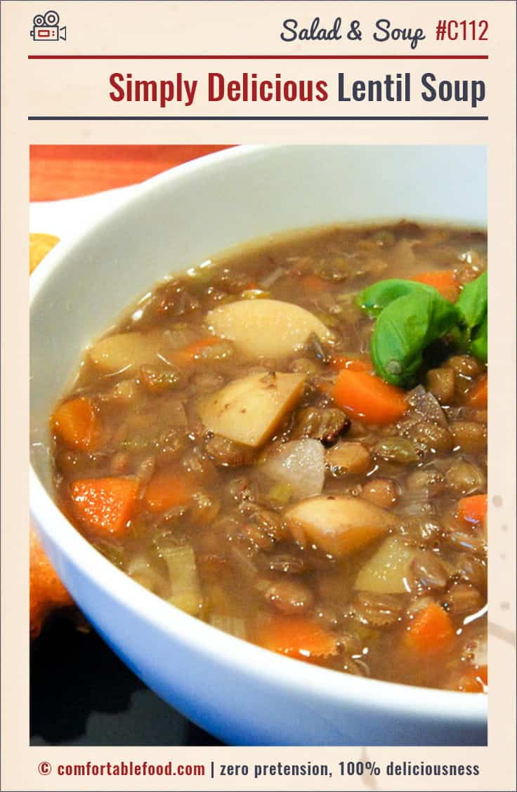 An easy recipe for hearty lentil soup.
