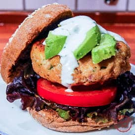 Chipotle Salmon Burger with Cilantro Lime Sauce 3