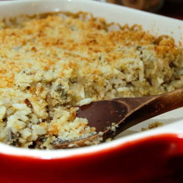 Creamy chicken, mushroom and wild rice casserole