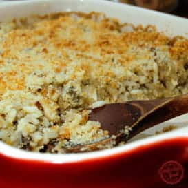 A hearty, healthy Chicken Mushroom and Wild Rice Casserole Recipe.