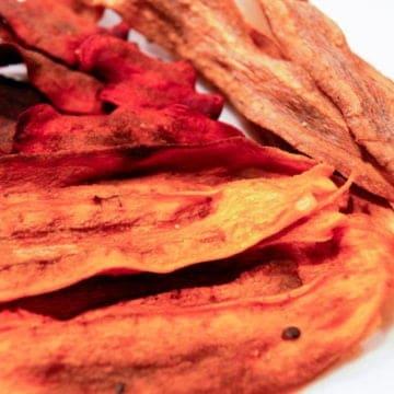 freshly made root veggie chips