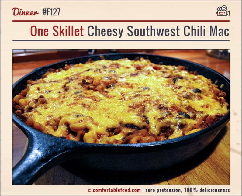 This One Skillet Chili Mac Dinner is a cinch to make and it's SO good!