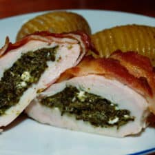 Stuffed chicken breasts wrapped in bacon.