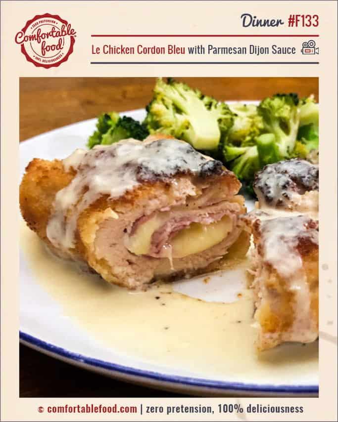 A simple Chicken Cordon Bleu recipe with Parmesan Dijon Sauce.