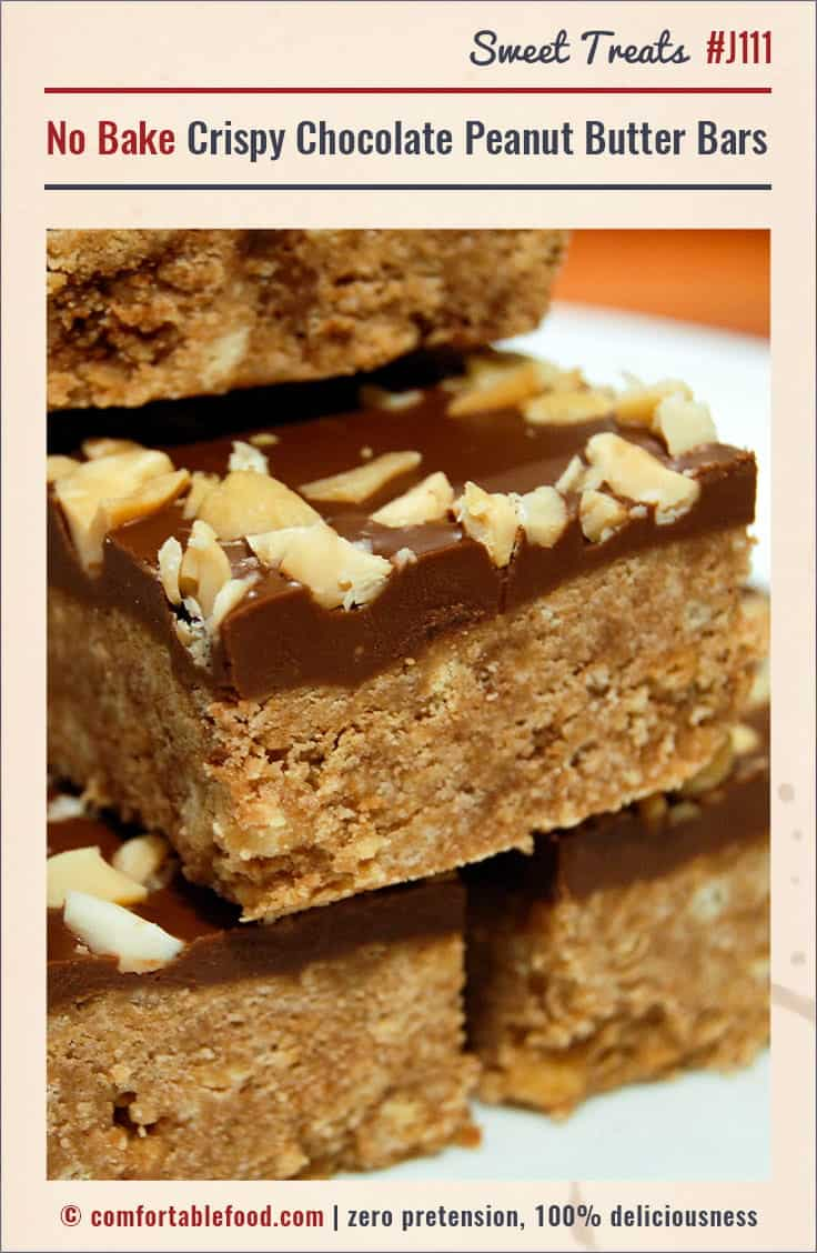 Quick and easy No Bake Crispy Chocolate Peanut Butter Bars.