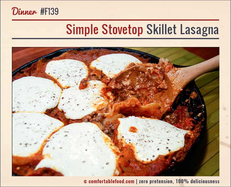 An easy to make, one skillet stovetop lasagna recipe.