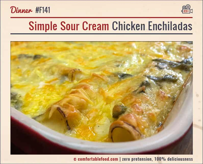 A Sour Cream Chicken Enchilada Casserole Recipe.