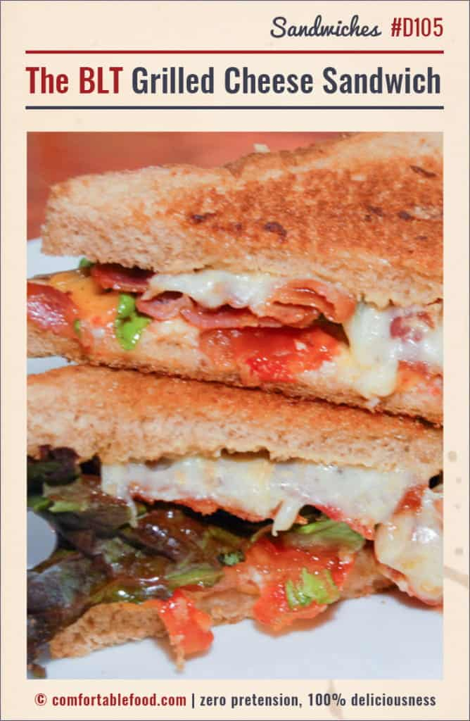 A Grilled Cheese Sandwich with Bacon, Lettuce and Tomato.