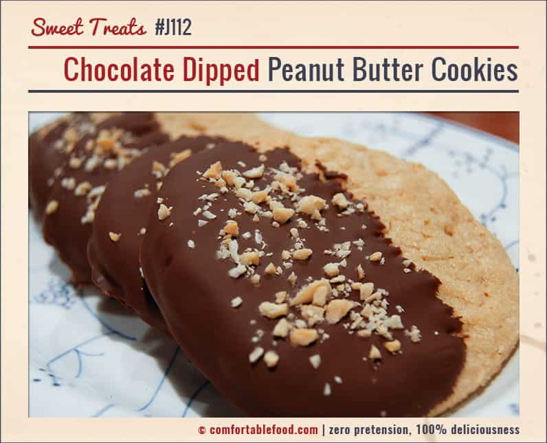 Crispy Peanut Butter Cookies dipped in delicious dark chocolate.