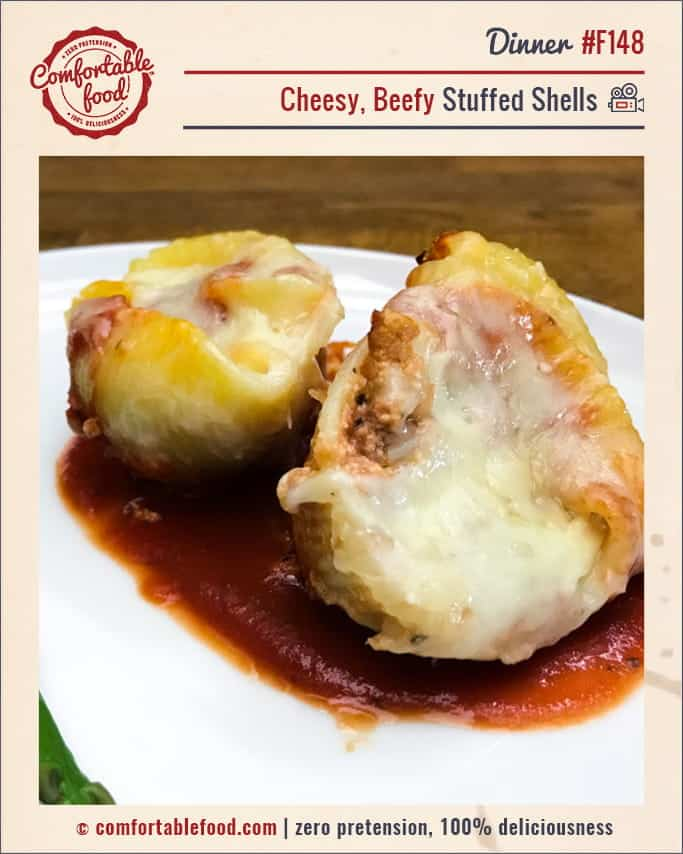 A recipe for beef and cheese stuffed shells.