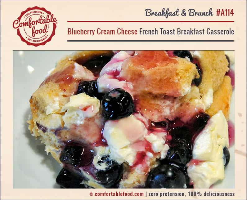 A rich and creamy Blueberry French Toast Breakfast Casserole recipe.