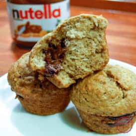 Nutella Stuffed Banana Bread Muffins 2