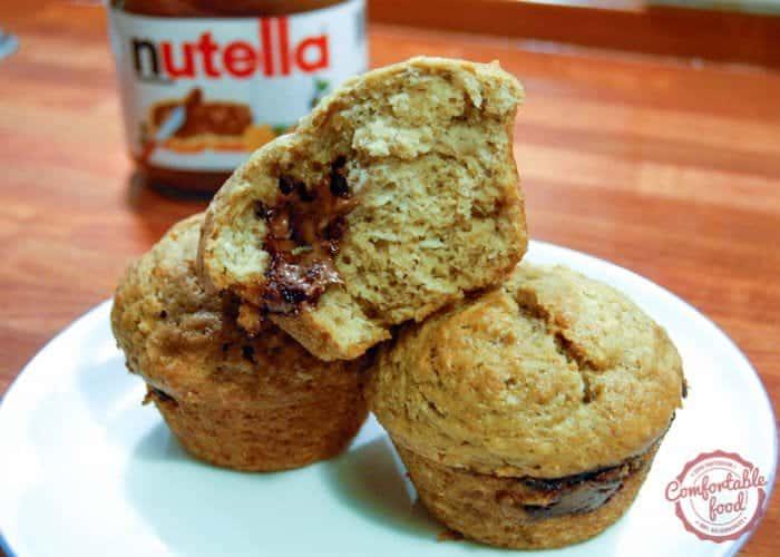 Nutella Stuffed Banana Bread Muffins 1