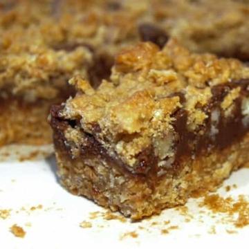 Dense and chewy oatmeal fudge bar recipe.