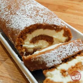 Spiced Pumpkin Roll Cake with Cream Cheese Filling 4
