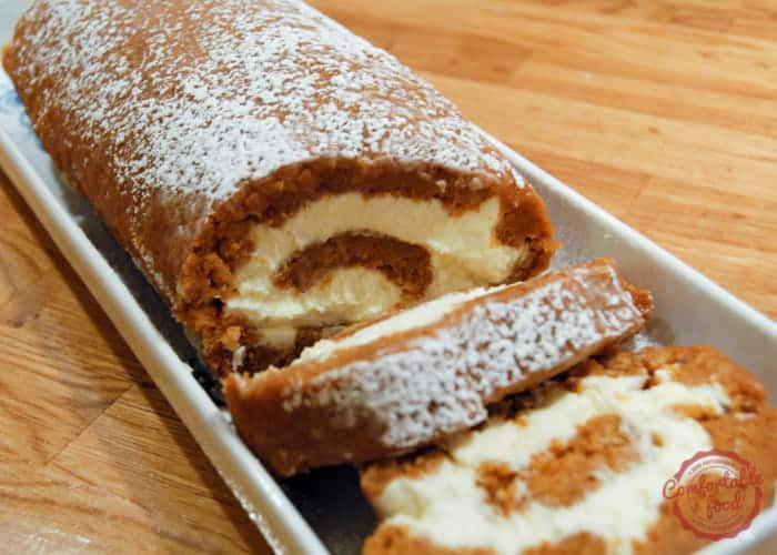 Spiced Pumpkin Roll Cake with Cream Cheese Filling 1