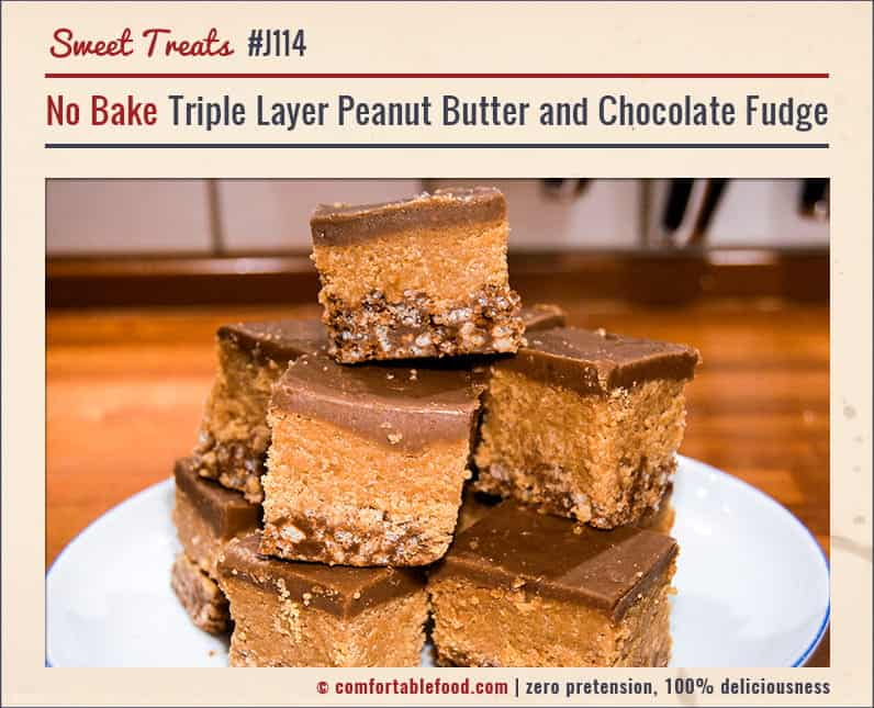 Triple layer chocolate and peanut butter fudge.