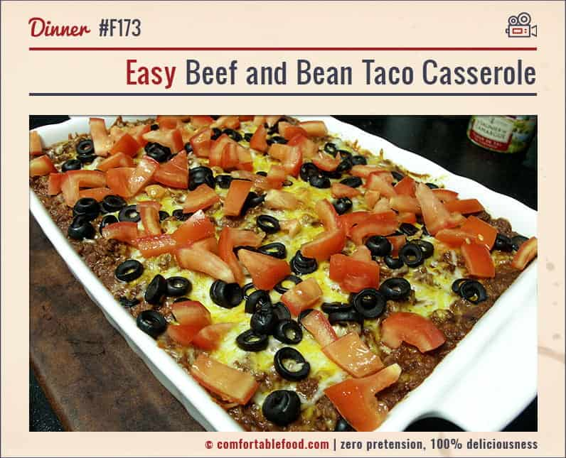 This Beef and Bean Taco Casserole could not be more delicious.