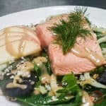 Poached Salmon Salad with Apples, Fennel and Blue Cheese