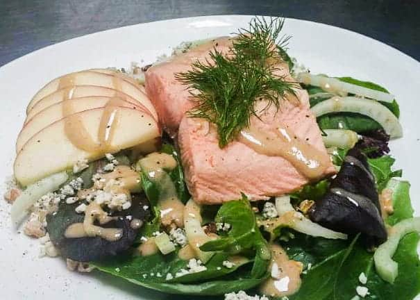 Poached Salmon Salad with Apples, Fennel and Blue Cheese 1