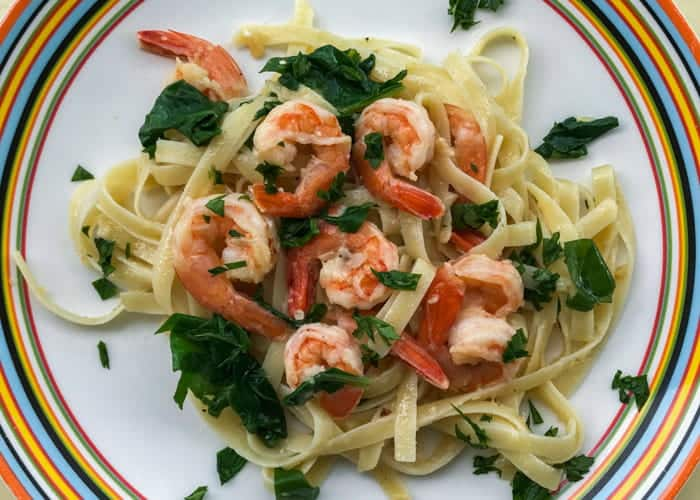 Lemon, Garlic Shrimp and Spinach Pasta from Comfortable Food.