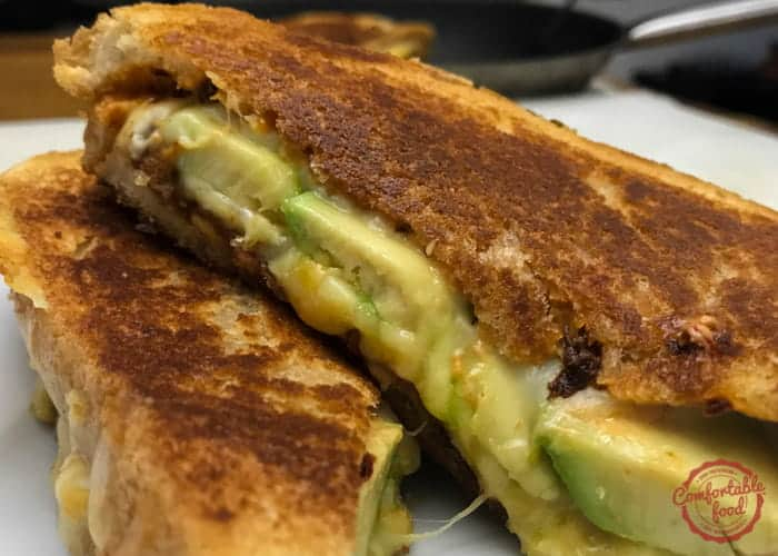 A spicy grilled cheese sandwich recipe with chipotle, bacon and avocado.