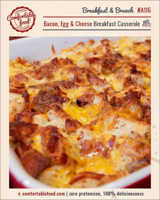 Breakfast casserole with bacon.