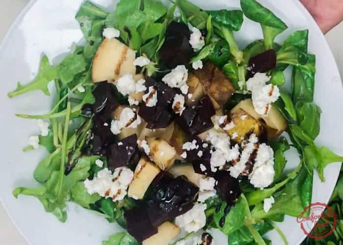 Pear beet and goat cheese salad