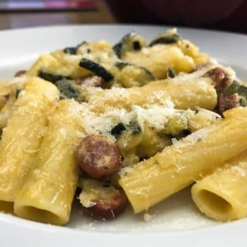 Super easy pasta with zucchini and chorizo.