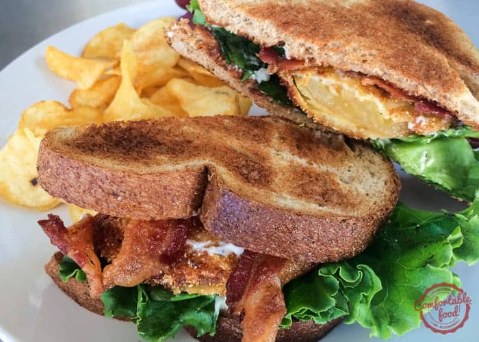 Bacon, Lettuce and (Fried Green) Tomato Sandwich with Garlic Aioli  1