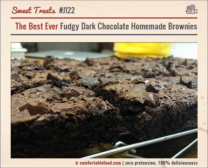 Homemade Fudgy Dark Chocolate Brownie Recipe.