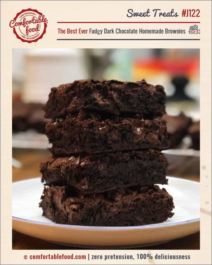 Homemade Fudgy Dark Chocolate Brownie Recipe.