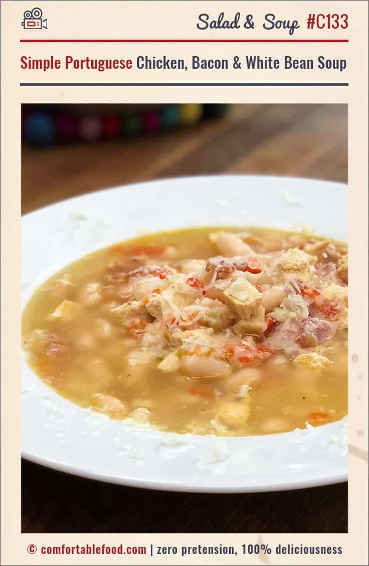 This Portuguese style Chicken, Bacon and White Bean Soup is so simple to make and so delicious!