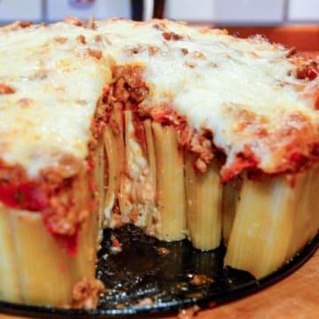 Stuffed Rigatoni with slice missing. A true Italian comfort classic.